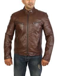 mens brown leather biker jacket fitted top best er zip up standing collar 3xl