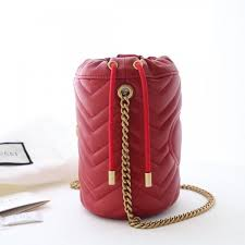 gucci gg marmont leather mini bucket shoulder bag 575163 red 2019 collection