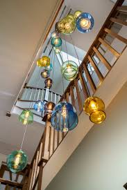 Long Drop Stairwell Pendant Lights Grosvenor Way Large Multi Drop Glass Pendent Stairwell