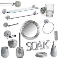 Silver Mosaic Bathroom Accessories Set Silver Sparkle Mirror