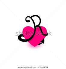 Romantic Letter Magnificent Letter R Heart Beautiful Vector Love Vector De Stock44