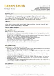 Server Experience Resume Examples Banquet Server Resume Samples Qwikresume