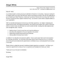 Cover Letter College Internship Accounting Internship Cover Letter
