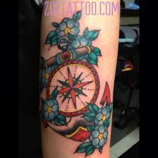 Anchor And Compass Tattoo Traditional Style Tattoo Of An A Flickr