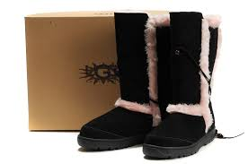 ... UGG 5359 Nightfall Suede Shearling Boots For Women Black Pink ...