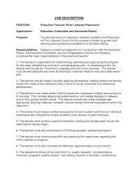 Sample Preschool Teacher Resume Kindergarten Teacher Resume Samples
