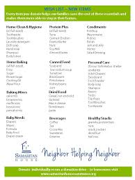 list of items needed for baby samaritan house