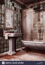 old abandoned bathroom with a dirty sink and ed mirror 3d render stock