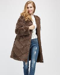 hooded reversible rex rabbit fur jacket with down filled 960a