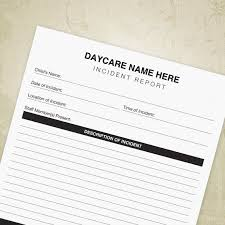 Daycare Form New Incident Report Printable Daycare Form Child Accident Etsy