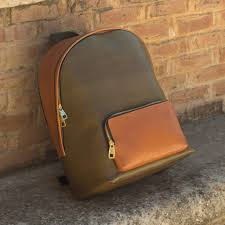 custom made luxury backpack in cognac and olive painted calf leather
