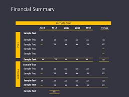 Cash Flow Summary Template Financial Summary Powerpoint Template Finance Powerpoint