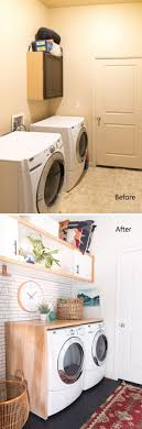 laundry room makeovers charming small. Budget Laundry Room Makeover Reveal With White Subway Tile, Black Penny Tile Floors And Wall Cabinet Makeovers Charming Small