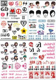 Us 1299 8pcs Temporary Tattoo Body Face Arm Korean Stars Fans Tattoo Sticker Bigbang Jyj Girls Generation Fx Lee Minho In Temporary Tattoos From