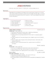 Hospitality Resume Example Hospitality Resume Sample Resume For
