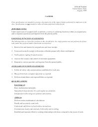 Gallery Of Cashier Job Description For Resume Template Resume