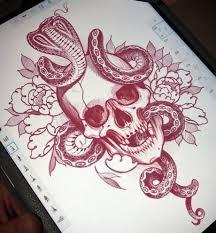 эскиз татуировки с черепом и коброй Tattoo татуировки эскиз