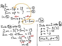 simultaneous equations substitution method math algebra solving equations showme