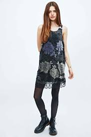 Pins Needles Velvet And Lace Dress In Black Lace Dress Urban