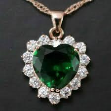 heart green emerald diamond halo