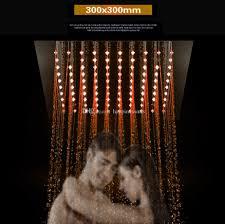 Großhandel Bad Wasserhahn Zubehör 12 Platz Regendusche 300x300mm Led Deckeneinbau Fernbedienung 304 Edelstahl Spiegel Led Dusche Dusche Von