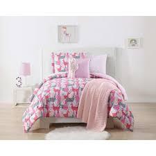 llama llama printed pink and grey full queen comforter set