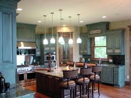 kitchen distressed blue kitchen cabinets traditional light