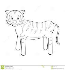 Animali Facili Di Coloritura Per I Bambini Tigre Illustrazione