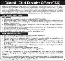growmore merchant banker ltd    ceo  amp  senior manager   jobs in nepaljob description