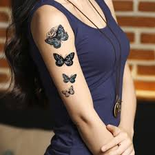 Amazoncom Tafly Temporary Tattoos For Women Blue Butterfly And