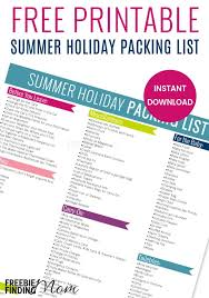 Free Printable Summer Holiday Packing List