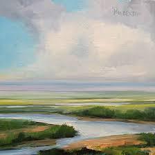 salt marsh in delaware small oil painting