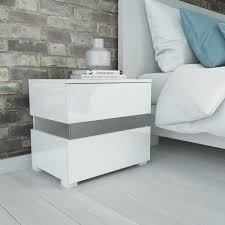 vegas white glass mirrored bedside tables. Fine Glass Sense White High Gloss Bedside Table With LED Light Furniture123 Regard To  Ideas 13 Vegas Glass Mirrored Tables M
