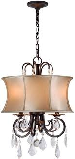 world imports annelise 3 light bronze chandelier with fabric shade and crystal drop accents