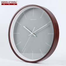 geekcook wall clock modern design with glass wooden metal quartz wall clocks modern simple clocks home decor living room small round clocks small round wall
