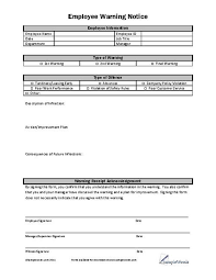 Employee Warning Letters Template Employee Warning Notice Template Barca Fontanacountryinn Com