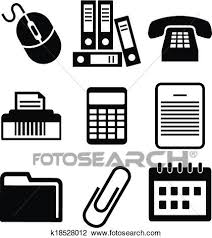 Clipart Of Set Of Black And White Office Icons K18528012 Search