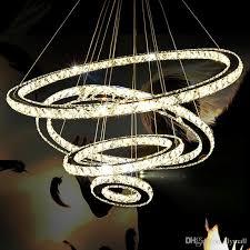 modern led crystal lamp chandelier light led ring diamond k9 pendant lamp lighting for living room bedroom dining room chandeliers ce ul drum shade