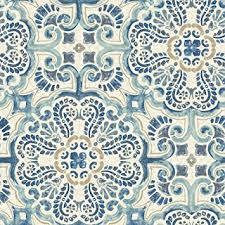 nuwallpaper nu2235 florentine tile peel and stick wallpaper blue amazoncom blue tile14 blue