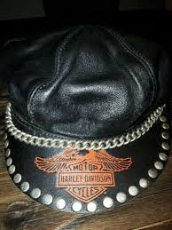 vintage rare harley davidson motorcycles leather bikers hat cap with chain usa
