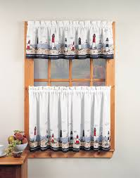 Kitchen Tier Curtains Sets Lighthouse 3 Piece Kitchen Curtain Tier Set Curtainworkscom