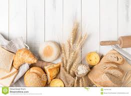 Bread And Bakery Ingredients On White Wooden Stock Image Image Of