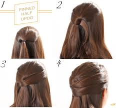 easy updo hairstyles for long hair step by step criss cross pinned half updo tutorial my