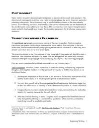 Transition Essay Examples Plot Summary Plot Summary Transitions Within A Paragraph
