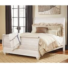 Sleigh Bedroom Furniture Ashley Furniture Willowton Queen Sleigh Bed In Whitewash Local