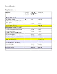 Budget Plan Sample Business Sample Ecommerce Business Plan