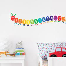counting caterpillar wall stickers