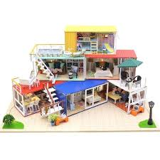 diy miniature house container house wooden doll house furniture with light miniature assembled puzzle dollhouse kits