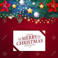 Christmas Design Template Merry Christmas Design Template With Realistic Fir Tree Branches