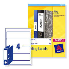 Avery L7171 Lever Arch Spine Laser Labels 200x60mm Ref L7171 25 Pack 100
